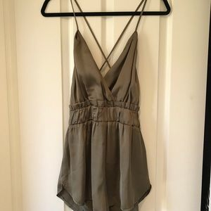 Other - Satin olive romper size small
